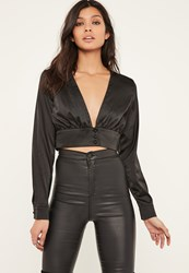 Missguided Black Button Front Satin Cropped Blouse