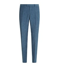 Sandro Slim Fit Linen Trousers Blue