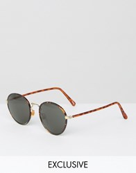 Reclaimed Vintage Round Sunglasses Brown