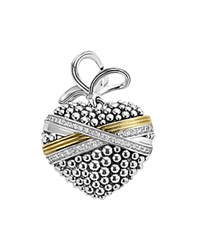 Lagos 18K Gold And Sterling Silver Caviar Bead Heart Charm Pendant With Diamonds Silver Gold