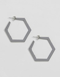 Monki Hexagon Hoop Earrings Silver