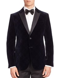 Armani Collezioni Velvet Argyle Dinner Jacket Sea Blue