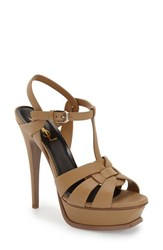Women's Saint Laurent 'Tribute' T Strap Platform Sandal Brown Leather