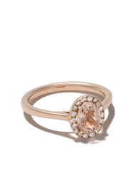 Astley Clarke 14Kt Rose Gold Halo Oval Morganite And Diamond Ring