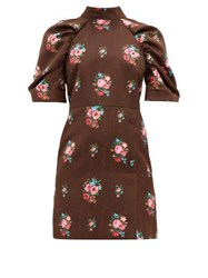 Msgm Open Back Floral Jacquard Dress Brown Multi