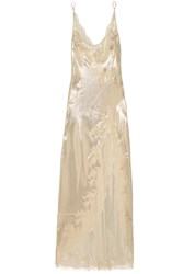 Carine Gilson Chantilly Lace Trimmed Silk Lame Nightdress Gold