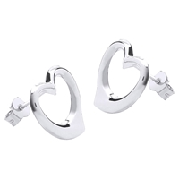 Ibb 9Ct White Gold Heart Stud Earrings White