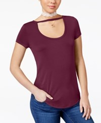 Almost Famous Juniors' Soft Scoop Neck T Shirt Burgundy
