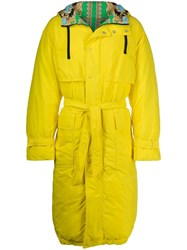 Versace Hooded Belted Raincoat Yellow