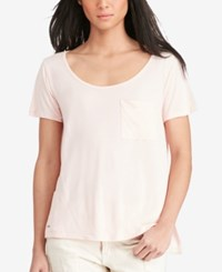 Polo Ralph Lauren Jersey Scoop Neck Pocket T Shirt Rose Quartz