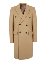 Topman Brown Camel Double Breasted Wool Overcoat