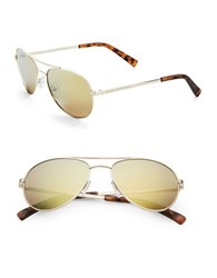 Calvin Klein 55Mm Mirrored Aviator Sunglasses Gold