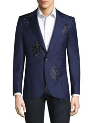 Paul Smith Paisley Button Front Wool Jacket Navy