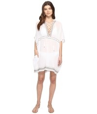 Vitamin A Isabell Short Caftan Cover Up Windswept Embroidered Gauze Women's Swimwear White