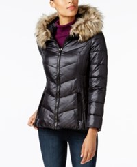 Inc International Concepts Faux Fur Trim Puffer Coat Created For Macy's Black Natural