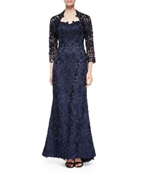 Helen Morley Strapless Lace Gown W Bolero Navy