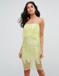 Forever Unique Lace Dress With 2 In 1 Detailing Green