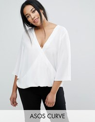 Asos Curve Wrap V Neck Blouse With Fluted Sleeves White
