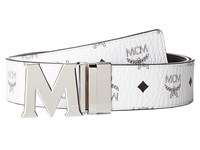Mcm Claus Reversible Silver Buckle Belt White