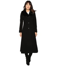 Lauren Ralph Lauren Faux Fur Fit And Flare Maxi Black Women's Coat