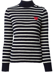 Comme Des Garcons Play High Neck Striped Sweater Blue