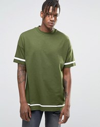 Asos Oversized T Shirt With White Stripe Print And Wide Neck Trim Rifle Green