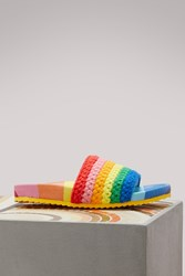 Mira Mikati Leather Sandals With Rainbow Mesh Multicolor