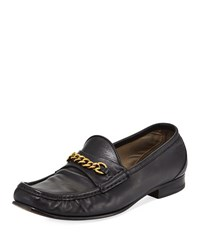 Tom Ford Leather Chain Link Moc Toe Loafer Black