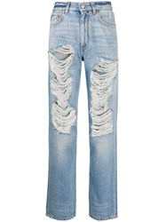 Givenchy Distressed Straight Leg Jeans Blue