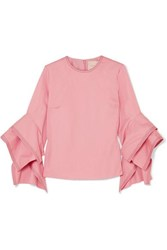 Roksanda Ilincic Ruffled Cotton Poplin Top Pink