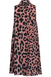 Equipment Mina Leopard Print Silk Crepe De Chine Mini Dress Pink