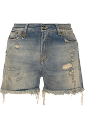 R 13 Shredded Slouch Distressed Denim Shorts