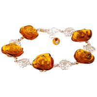 Be Jewelled Amber Rose Sterling Silver Bracelet Amber