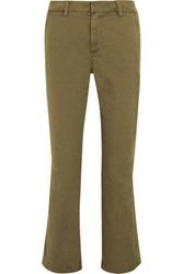 J.Crew Sammie Cropped Stretch Cotton Twill Straight Leg Pants Army Green