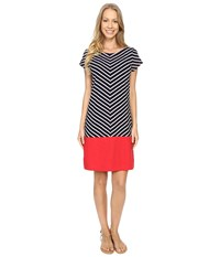 Hatley T Shirt Dress Nautical Chevron Women's Dress Gray