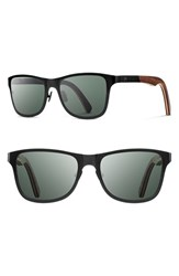 Shwood Men's 'Canby' 54Mm Polarized Titanium And Wood Sunglasses Black Walnut Black Walnut