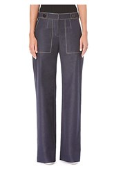 Carolina Herrera Wide Leg Denim Pants Navy