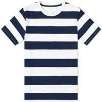 Save Khaki Rugby Stripe Crew Tee Blue