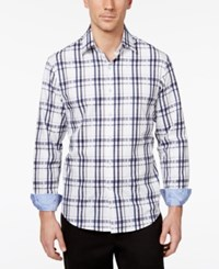 Tasso Elba Men's Yinetto Plaid Long Sleeve Shirt Only At Macy's White Combo