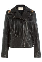 Valentino Volcano Leather Jacket Black