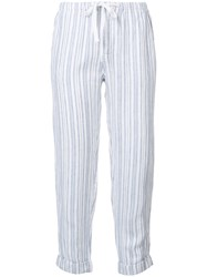 Joie Drawstring Striped Cropped Trousers Women Linen Flax M White