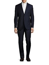 Saks Fifth Avenue Classic Fit Window Pane Two Piece Wool Suit Navy