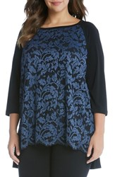 Karen Kane Plus Size Women's High Low Lace Front Top