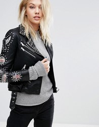 Mango Embroidered Detail Leather Look Jacket Black