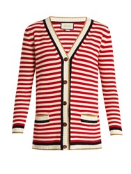 Gucci Striped Cotton Blend Cardigan Red Stripe