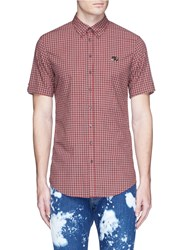 Dsquared Logo Plate Gingham Check Shirt Red