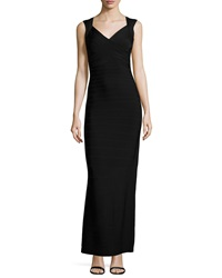 Herve Leger V Neck Bandage Gown Black