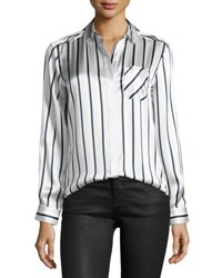 Atm Anthony Thomas Melillo Long Sleeve Striped Silk Charmeuse Blouse Silver Midnight White Silver Midngt Wht