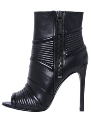 Balmain 110Mm Open Toe Leather Ankle Boots