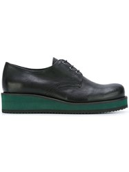 Cotelac Platform Flat Lace Up Shoes Black